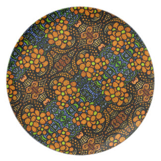 Whimsical Orange Floral Pattern Plate