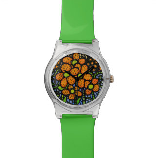 Whimsical Orange Floral Wrist Watches