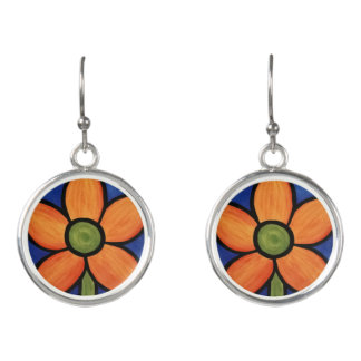 Whimsical Orange Flower Earrings