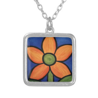 Whimsical Orange Flower Silver Plated Necklace