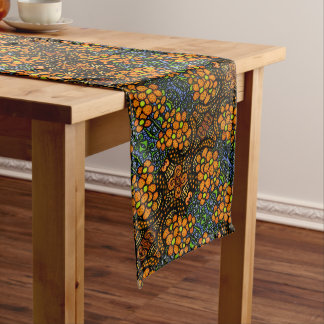 Whimsical Orange  Flowers Pattern Long Table Runner