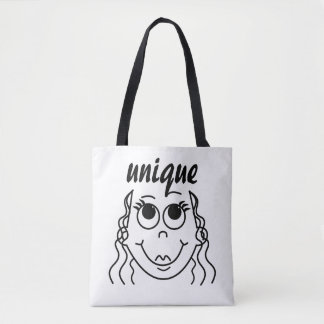 Whimsical Outline of Girl with Big Eyes Tote Bag