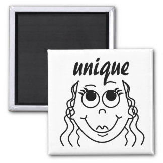 Whimsical Outline of Girl with Large Eyes Square Magnet