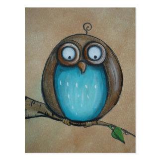 Whimsical Owl Art Postcard