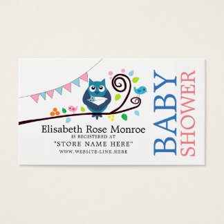Whimsical Owl Baby Shower Gift Registry Business Card