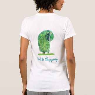 Whimsical Owl Be Shopping Owl in Green and Blue T-Shirt