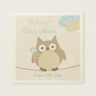 Whimsical Owl Boy Baby Shower Disposable Napkin