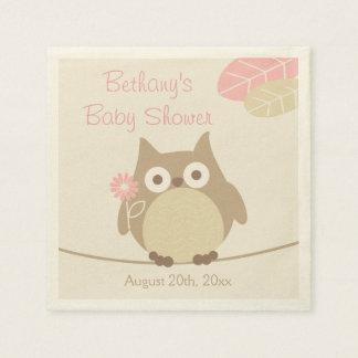 Whimsical Owl Girl Baby Shower Paper Napkins