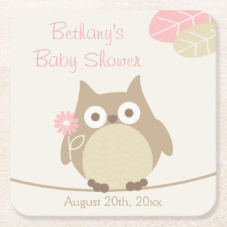Whimsical Owl Girl Baby Shower Square Paper Coaster