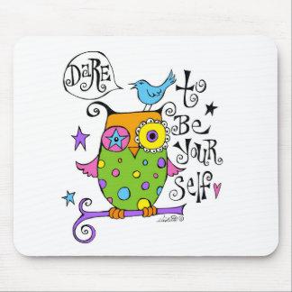 Whimsical Owl Illustration Mouse Mat