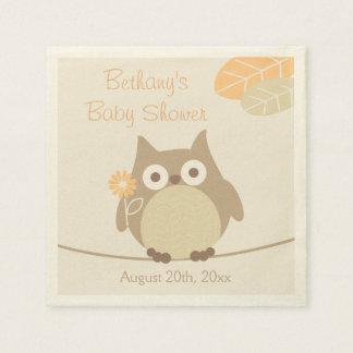 Whimsical Owl Neutral Gender Baby Shower Disposable Napkin