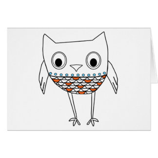 Whimsical Owl Orange Blue Black Woodland Creatures Card