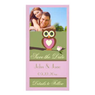 "Whimsical Owl  /photo  ""Save the Date"" Customized Photo Card"