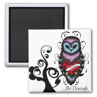 Whimsical Owl with Heart Square Magnet