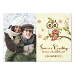 Whimsical Owls and Snowflakes Holiday Photo Card Personalised Announcement