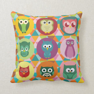 Whimsical Owls Colorful Geometric Triangles Cushions