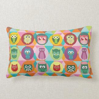Whimsical Owls Colorful Geometric Triangles Throw Cushion