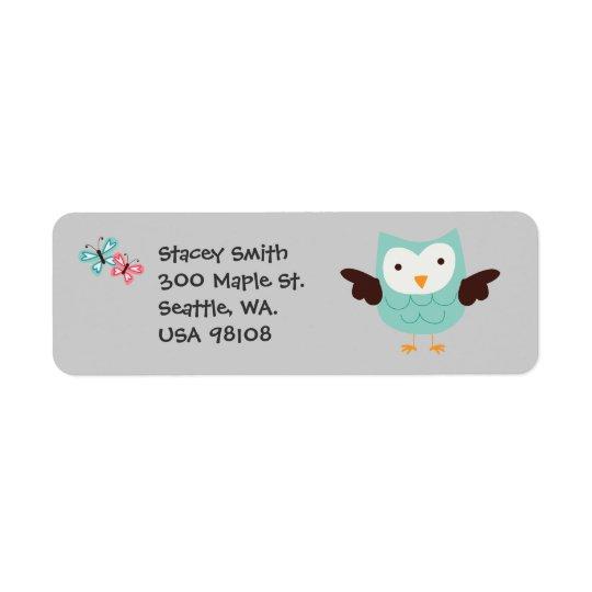 Whimsical Owls Customisable Return Address Label