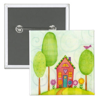 whimsical painting 15 cm square badge