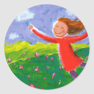 whimsical painting classic round sticker