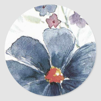 whimsical painting of floral watercolor classic round sticker