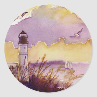 whimsical painting of lighthouse round sticker