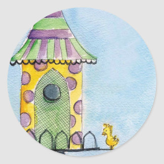 whimsical painting round stickers