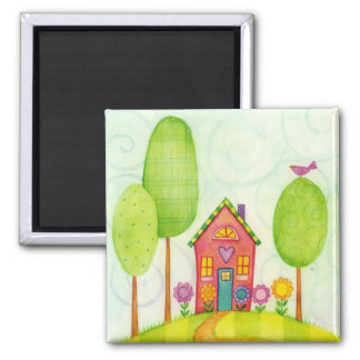 whimsical painting square magnet