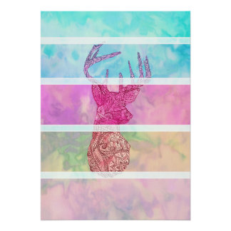 Whimsical Paisley Deer Head Summer Pastel Stripes Poster