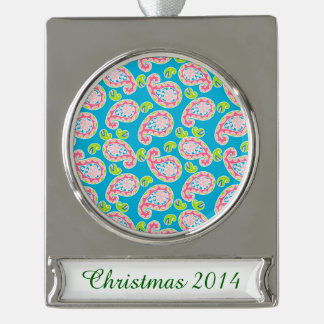 Whimsical Paisley on Blue Silver Plated Banner Ornament