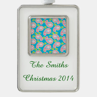 Whimsical Paisley on Blue Silver Plated Framed Ornament