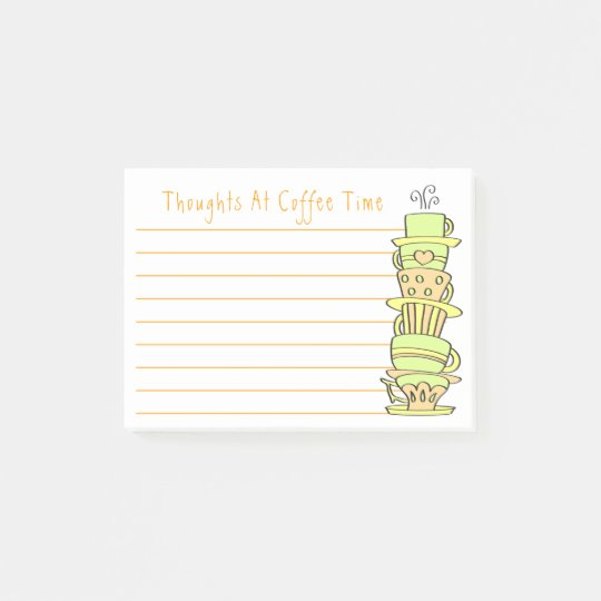 Whimsical Pastel Coffee Cup Stack Post-it Notes