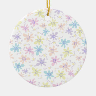 Whimsical Pastel Flowers Christmas Ornaments