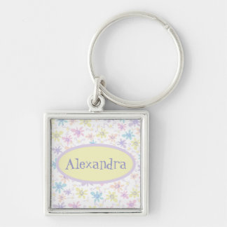Whimsical Pastel Flowers Silver-Colored Square Keychain
