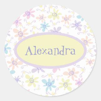 Whimsical Pastel Flowers Round Sticker