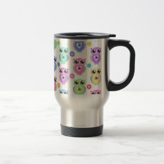 Whimsical Pastel Owls Love Heart Floral pattern Coffee Mug
