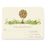 Whimsical Patchwoork Flower Tree Wedding RSVP Personalised Invitation