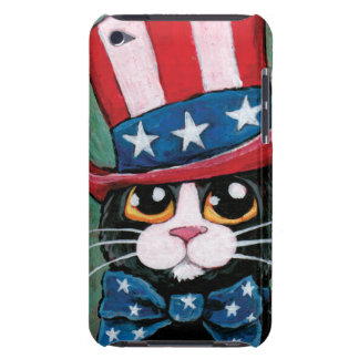 Whimsical Patriotic Tuxedo Cat Illustration iPod Touch Cover