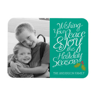 Whimsical Peace and Joy Holly Berry Holiday Photo Magnet