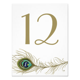 Whimsical Peacock Feather Table Number Card 11 Cm X 14 Cm Invitation Card