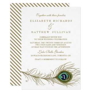 Whimsical Peacock Feather Wedding Invitation II