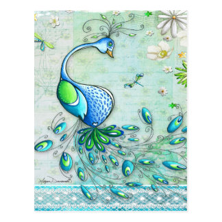 Whimsical Peacock Postcard