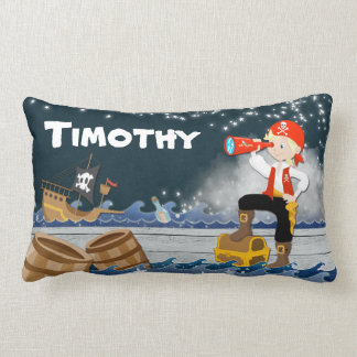 Whimsical Personalise Cotton Pirate Boy Dreamscape Lumbar Cushion