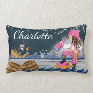 Whimsical Personalise Cotton Pirate Dreamy Lumbar Cushion