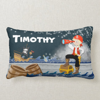 Whimsical Personalise Polyester Boy Pirate Dreamy Lumbar Cushion
