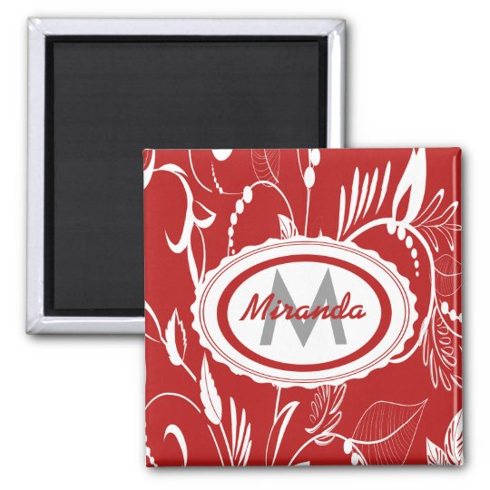 Whimsical Personalised Red and White Floral Design Square Magnet