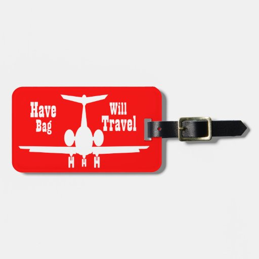 Whimsical Personalized Red Airplane Luggage Tag