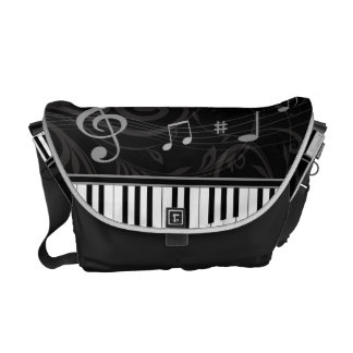 Whimsical Piano and Musical Notes Courier Bags