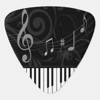 Whimsical Piano and Musical Notes Guitar Pick