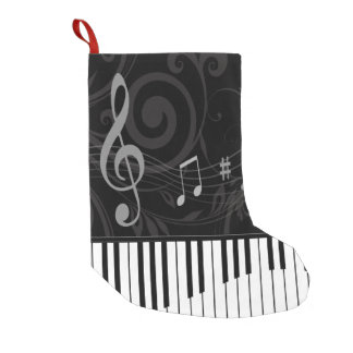 Whimsical Piano and Musical Notes Small Christmas Stocking